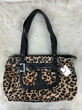 Tyler Rodan Purse Shoulder Bag Animal Print Leopard Black Silver Keychain