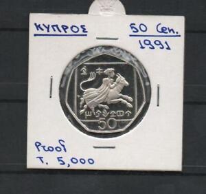 CYPRUS 50 Cent 1991 PROOF
