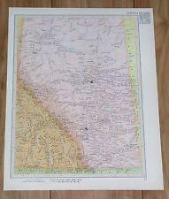 1951 ORIGINAL VINTAGE MAP OF ALBERTA EDMONTON CALGARY / SASKATCHEWAN / CANADA