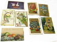 Lot of 7 Antique Easter Postcards - Rabbits Cross Roosters Pussy Willows