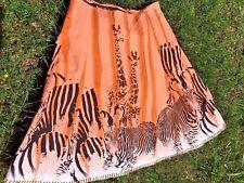 SILK CLUB COLLECTION Giraffe Zebra Jungle Africa Lined Skirt Womens Size S