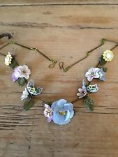 Art Deco /pre Raphaelites Vintage Style SUMMER GARDEN enamel flower necklace