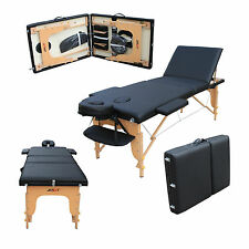 H-ROOT Large Deluxe 3 Section Lightweight Portable Massage Table Couch Bed Black