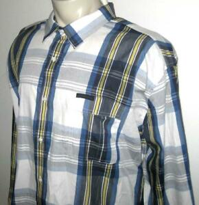 NEW SEAN JOHN MENS SHIRT Blue White Plaid Long Sleeve Button 4XB 4XL 5XB 5XL