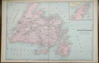 """NEWFOUNDLAND CANADA 1903 Vintage Atlas Map 22""""x14"""" ~ Old Antique ST JOHNS GANDER"""