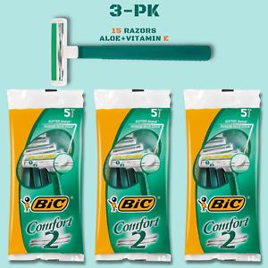 BiC Comfort 2 Men Razors Twin Blade Disposable Shaver Aloe+Vitamin-E 15 Unit 3PK