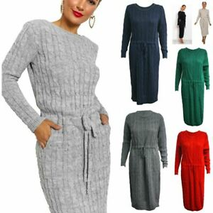 Ladies Womens Soft Knit Cable Knitted Pocket Tie Up Midi Party Dress Jumper Top