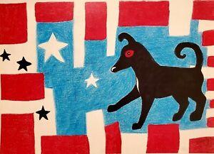 Kimberly Helgeson Sams 11x14 dog outsider art print SIGNED Black Dog Flag