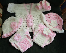 Hand Crochet Baby - Pink 6 Pc Outfit-2 Diaper cover,2 Bonnet,Sandals,Sweater