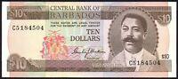 1973 BARBADOS $10 DOLLARS BANKNOTE * C5 184504 * EF * P-33a *