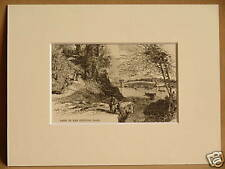 LAKE IN CENTRAL PARK NEW YORK MOUNTED ANTIQUE ENGRAVING FROM 1876 PUBLICATION