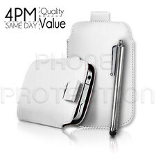 LEATHER PULL TAB SKIN CASE COVER POUCH AND STYLUS PEN FITS VARIOUS HTC PHONES