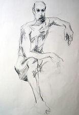 Lubomyr Mudretzkyj 1927-2001 Wien Zeichnung-3 männlicher Akt 1987 Karl Hoffmann