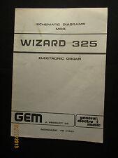 GEM Electric Organ Wizard 325 Schematic Diagrams Manual Parts List Factory OEM