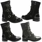 Nancy Womens Flats Low Heels Studded Strappy Biker Ankle Boots Ladies Shoes Size
