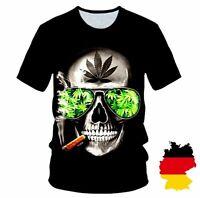 3D T-Shirt Cannabis Hanf Marihuana Weed Skull Totenkopf  Unisex Geschenkidee