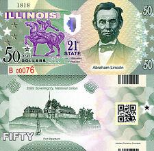 USA 50 Dollars Illinois State #21 Fun-Fantasy Note Banknote Abraham Lincoln