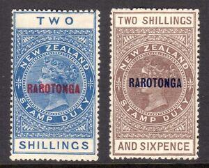 COOK ISLANDS 1921-23 Rarotonga Postal Fiscal 2s & 2s6d M, SG 76,77 cat £47