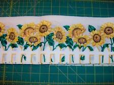 """30 yds x 5.5"""" sunflowers on white w/picket fence - great for curtains S525"""