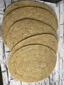 VINTAGE SET OF 5OVEN STRAW WICKER RATTAN PLACEMATS 19x13