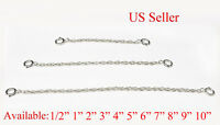 SOLID STERLING SILVER Extender Safety ROPE Chain Necklace Bracelet spring lock