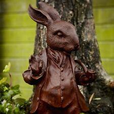 Cast Iron Mr. Rabbit Woodland Creature Statue - Rabbit With Pipe Garden Decor