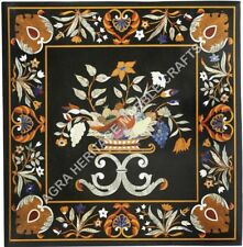"""36"""" Marble Black Dining Center Table Top Beautiful Inlay Design Decor Art H5671A"""