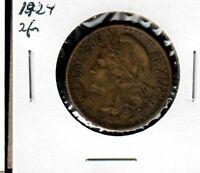 Togo 2 Francs 1924 VF