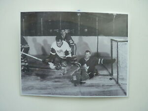 GORDIE HOWE VS JOHNNY BOWER HOCKEY PICTURE LAMINATED ON WOOD MDF 8 X11 FREE SHIP