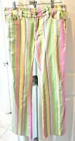 Loudmouth Ladies Golf Women's Retro Inspired Stripes Pants Pink Yellow Green 6