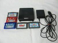 L520 Nintendo Gameboy Advance SP console Onyx Black & 5 game Adapter Japan GBA