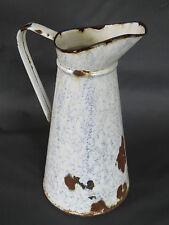 Antiguo gran broc en esmalte bote blanco esmaltado vintage años 1950 francesa