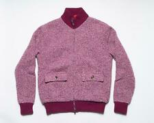 Isaia NWT Fuchsia Melange Merino Wool Zip Up Bomber Cardigan Sweater M
