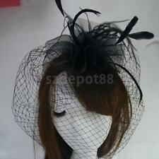 Womens Headband Hair Band w/Veil Feather Halloween Costume Headpiece