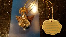 Heavenly Wings Ornament from Roman #68027 Crystal Brass Filligree Angel