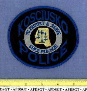 KOSCIUSKO MISSISSIPPI Sheriff Police Patch STATE SHAPE OUTLINE