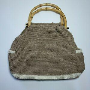 Unbranded Cream Ivory Crochet Handbag Purse Hobo Bag Wooden Handles Boho Chic