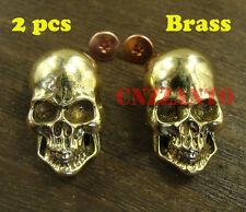 2pcs Brass Leathercraft Skull rivet stud Punk screw back Conchos Wallet Z228