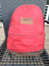 Vintage LL BEAN Leather Bottom Backpack, Day Pack, Bag, RED