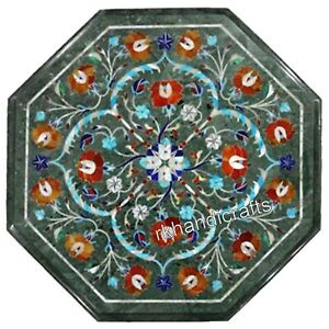 Carnelian Stone Floral Art Patio Table Top Green Marble Coffee Table 14 Inches