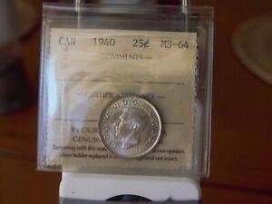 ICCS  1940  ms-64  Canadian 25 cent