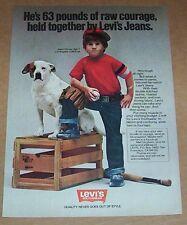 1979 ad page - Levi's boys kids Jeans- actor young JASON HERVEY dog Print ADVERT