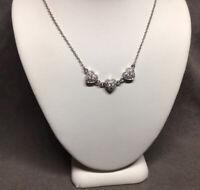 "VTG Stamped 925 Sterling Silver Genuine Diamond 3-Heart Choker Necklace 16-18"""