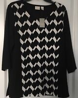 Chicos Travelers Womens Top Black And White Knit Chicos Size 1 (Medium 8) NWT