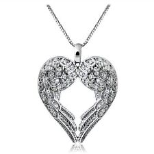 Women Chic 925 Silver Sterling Fashion Angel Wing Pendant Necklace Jewlery love