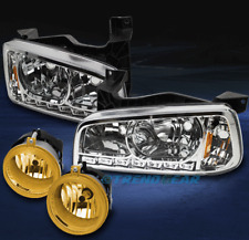 2006-2009 DODGE CHARGER DRL LED CHROME CRYSTAL HEAD LIGHT+YELLOW BUMPER FOG LAMP
