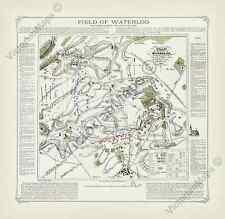 Field of Waterloo towards sunset antique battle plan map Cotton art print poster