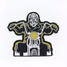 Embroidered Iron On Patch Logo Ghost Rider Motorcycle Badge Fabric Craft DIY