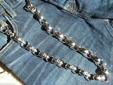 New Men's Wallet Jean Chain Skulls Key Ring Attachment Silver Bikers Truckers