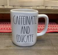 Rae Dunn By Magenta - LL CAFFEINATE & EDUCATE - White Ceramic Coffee Mug